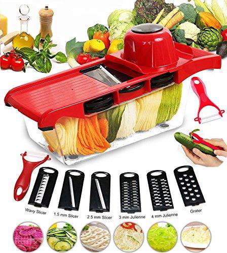 Foto de Cortador de verduras Mandolina Frutas BYETOO 6+1 Cortador de verduras manual de patatas rallador de zanahoria rebanador de queso con 6 hojas de acero inoxidable intercambiables