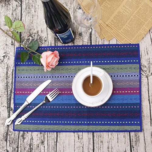 Price comparison product image LEKOCH Handmade Cotton Placemats Woven Braided Ribbed Machine Washable Table Place mats Set of 4, 30x45 cm(Blue)