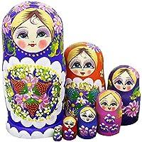 Winterworm Juego de 7 bayas y flores patrones de madera Nesting Dolls Matryoshka ruso muñeca perfecto