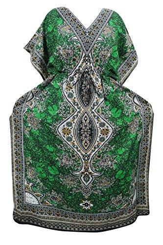 Indiatrendzs Women's Kaftans Long Dashiki Boho Green Loose Dress With Dori At Waist