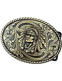 Sharplace Mode Cowboy Boucle Ceinture Alliage Chef Indien Herb Verte Boucle  Homme Bronze 0ceb236bb5a