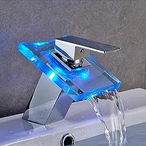Auralum Led Wasserhahn aus Glas, Waschbeckenarmatur Wasserfall mit RGB Farbewechsel Armatur fürs Bad mit Temperatursensor