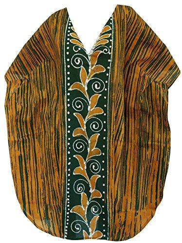La Leela 100% nuit robe de robe de plage en coton batik pur court caftan caftan Vert
