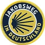2 x Abzeichen gewebt 55 mm / Jakobsweg in Deutschland, deutsch, deutscher / Aufnäher Aufbügler Flicken Sticker Patch / Wanderkarte Jakobs-Muschel Pilgerweg Pilgern Reiseführer Wanderführer Buch