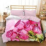 Bettwäsche mit Microsatin 3D 160x200 35 Blumenstrauß aus Rosa Rosen 0016 Bed & You
