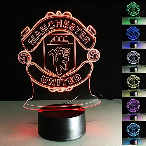 Ruumika 3D Night Light MANCHESTER UNITED Football Club 7 Color Change LED Table Lamp