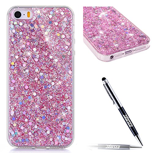 JAWSEU Coque Etui pour iPhone 6/6S 4.7,iPhone 6S Plastique Coque Ultra Slim,iPhone 6 Hard Case Pailletee Bling Housse Etui,2017 Neuf Luxury Design Femme Homme Fashion Ultra Mince Thin Cristal Clair Co rose/gliter
