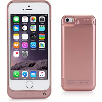 iPhone 5 5C SE 5S Battery Charger Case, Lenuo 4200mAh External Rechargeable Charging Power Pack Extended Backup Case Cover for iPhone 5/5C/5S/SE (Rose Gold)