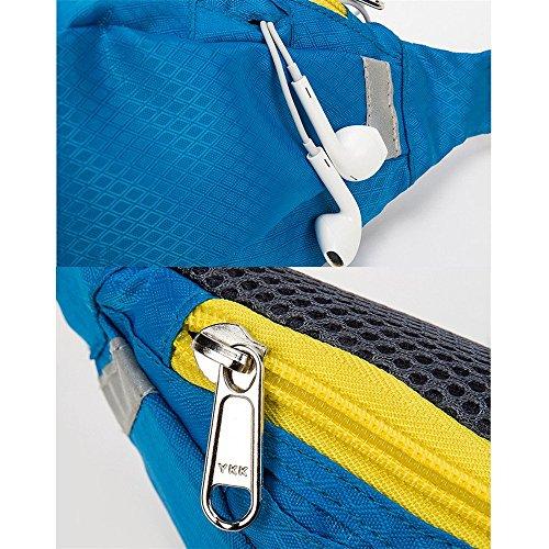 Wewod 600 D Nylon Wasserdicht Gürteltasche/Sport Hüfttasche-Exklusive Öffnung für Kopfhörer-Reflexstreifen für Nachtsichtbarkeit-zum Laufen und Reisen Entwickelt (Grau) Azurblau