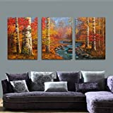 Di Grazia The Yellow Tree Jungle 3 Piece Canvas Print Modern Abstract Landscape Painting - Contemporary Art, Wall Décor Home Decorations Gallery Ready to Hang Wood Panels (30x40cmx3pcs)