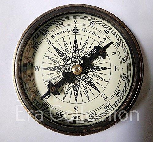 Robert Frost 'Kompass von Euphoria Kollektion Vintage Messing compass solid Marine compass compass hiking pocket Kompass outdoor navigation Marine mit antikem, marine, Bronze London Stanley 1885mit Kompass, 3cm, Robert Frost' mit Geschenk, professionell handgefertigt Camping-Kompass
