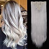 TESS Clip in Extensions wie Echthaar Kunsthaar Haarteil günstig 8 Tressen 18 Clips Haarverlängerung Glatt Silbergrau 26