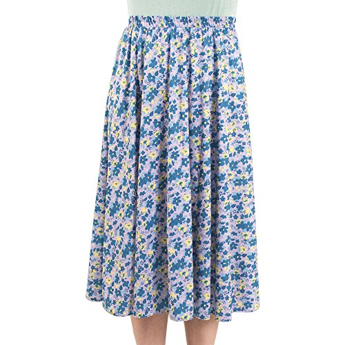 Ladies Elasticated Waist Skirt - 7 Great patterns - Sizes 8-36 (16, Summer Floral)
