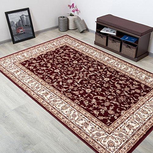 WOLLTEPPICH bester Qualität - Teppich aus Wolle ins Wohnizimmer mit Bordüre - Muster Ornamente Farbe Rot Creme - THEATRE COLLECTION 240 x 350 cm Home-theatre-teppich