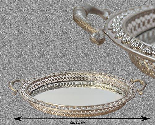 XL Kerzentablett Tischspiegel Dekotablett Tablett Spiegeltablett Dekoration Shabby Silber
