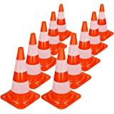 ECD Germany 10x Road Traffic Cone 18 500mm High Safety Cone Warning Cone Traffic Training Cones Orange and White Kids Sports Agility Training Football Soccer Obstacle Course Parking Pylons