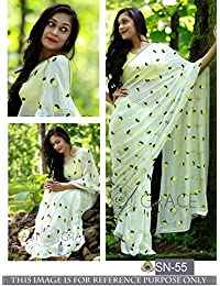 Pramukh Enterprise New Latest Fancy Off White & Yellow Designer Saree