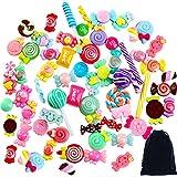 Aneco 60 Piezas de Dijes de arcilla Candy Slime Beads Mixed Candy Beads con bolsa de cordón para DIY Scrapbooking hecho a mano de diferentes estilos y colores