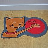 TAPISO Velvet - Futtermatte - rot-grau Matte für Fütterung für Katzen - Anti-Rutsch-Matte für Tiere mit Comic Zeichnen - Matte für Schüsseln für Nahrung und Wasser - 30x48 cm eine Matte in einer Größe um Haustiere zu füttern 30 x 48 cm
