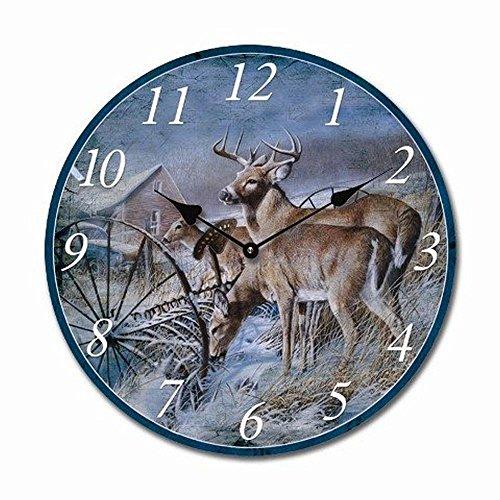 Tinas Collection runde Wanduhr mit Rehen und Hirschen als Motiv, 30 cm Ø