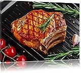 Steak Rumpsteak Fleisch Food USA Format: 60x40 cm auf Leinwand, XXL riesige Bilder fertig gerahmt mit Keilrahmen, Kunstdruck auf Wandbild mit Rahmen, günstiger als Gemälde oder Ölbild, kein Poster oder Plakat