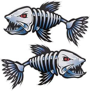 Clispeed 2pcs Fisch Skelett Aufkleber Aufkleber Auto Vinyl Aufkleber Aufkleber Kajak Angeln Auto Dekore Für Notebook Laptop Küche Haushalt