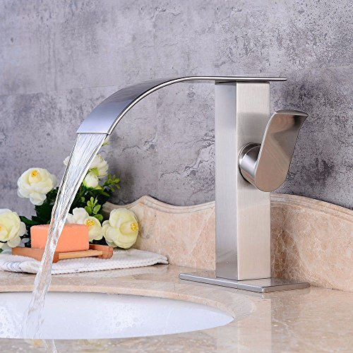 MGADERO Waschtischarmatur Waschbecken Mischbatterie Moderne gebürstet Wasserfall mit warmen und kaltem Wasser Keramik einzelne Bohrung der Einhebelsteuerung Bad Armatur Badezimmer Wasserhahn - Waschbecken Badezimmer Wasserhahn Einzelne