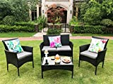 Yakoe Eton Range Outdoor Rattan Garden Furniture Sofa Set, Black, 106x59x48 cm
