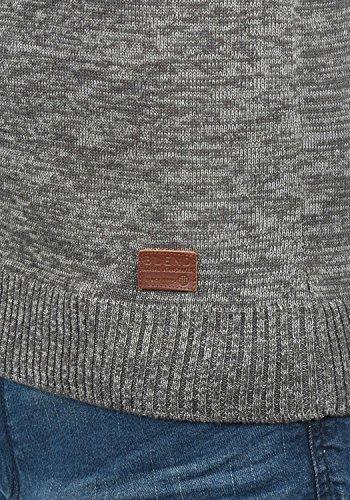 BLEND Dansel Herren Strickpullover Feinstrick Pulli mit V-Ausschnitt aus hochwertiger Baumwollmischung Meliert Pewter Mix (70817)