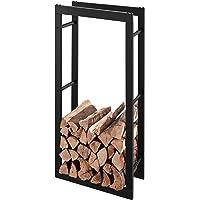 RANSENERS® Metall Kaminholzregal Feuerholzregal Brennholzregal Schwarz 40x27x150cm Stapelhilfe Aussen und Innen