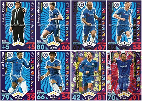 match-attax-extra-2016-17-chelsea-update-set-all-8-cards-inc-manager