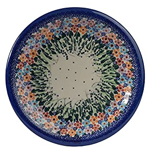 Traditional Polish Pottery, Handcrafted Ceramic Dinner Plate 26cm, Boleslawiec Style Pattern, T.301.Daisy