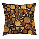 case YLIOWRC Wooden Throw Pillow Cushion Cover, Brown Wood Textures Abstract Pattern Circles Timber Oak Natural Grain Style Art Print, Decorative Square Accent Pillow Case, 18 X 18 inches, Brown