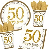 Carpeta 33-teiliges Party-Set * Gold 50 - Sparkling Celebration * für den 50. Geburtstag // mit Teller + Becher + Servietten Luftballons // Deko Goldene Hochzeit Jubiläum Party Motto fünfzig
