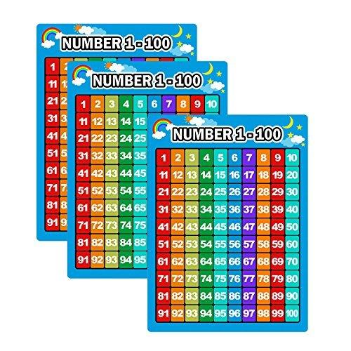 3 Stücke Nummer 1-100 Charts Pädagogische Vorschule Poster Lernen Poster für Kleinkinder