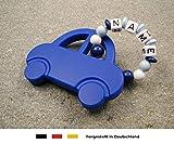 Baby Silikon Greifling Beißring mit Namen | individueller Beißanhänger als Geschenk zur Geburt & Taufe | Jungen Motiv Auto in dunkelblau