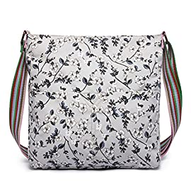 Miss Lulu Ladies Grey Black Flower Rose Canvas Cross Body Messegner Satchel Bag Saddle Oilcloth Purse