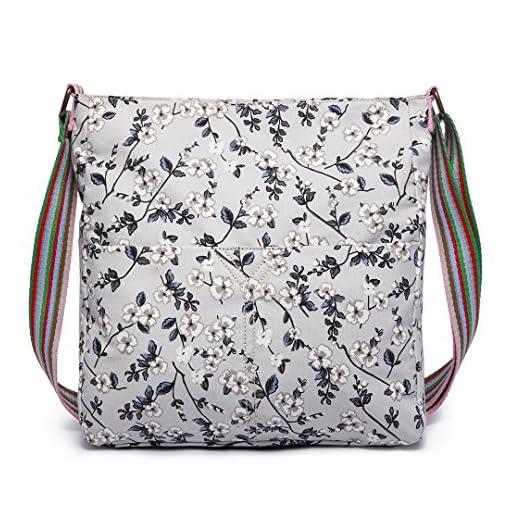 Miss Lulu Ladies Grey Black Flower Rose Canvas Cross Body Messegner Satchel Bag Saddle Oilcloth Purse