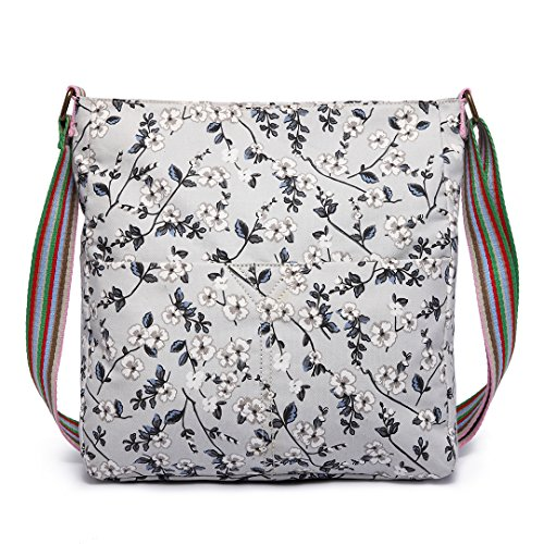 - 61C1DSv9O7L - Miss Lulu Ladies Grey Black Flower Rose Canvas Cross Body Messegner Satchel Bag Saddle Oilcloth Purse