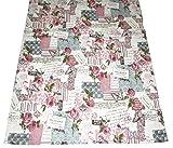 Retro Print Rose Kissenhülle u. Tischwäsche Postcardprint Vintage Look reine Baumwolle altrose (Platzdeckchen Set mit 2x 32x45)