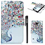 BtDuck Kompatibel mit Samsung Galaxy S5 Hülle Leder Flip Magnet Mandala Schutzhülle Hülle Silikon Muster Buntes Abnehmbarem Backcover Tasche Hülle Silikon Brieftasche Handyhülle