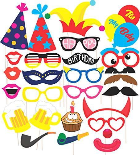 Discount Retail Party Props for Birthday Party – Suitable for His or Hers Birthday Celebration Photo Booth Props for Birthday . 26 Piece Kit Includes Various Colors Of Mustache,Glasses Frames,Lips,Crown,Pipe,Eyes,Hat and Happy Birthday Sign