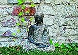 WOMA Buddha Deko Figur Sitzend mit Verzierungen, Dekoration für Haus, Wohnung und Garten, 33cm hoch, Wetterfeste Skulptur aus Polyresin für Innen und Außen, Silber - 4