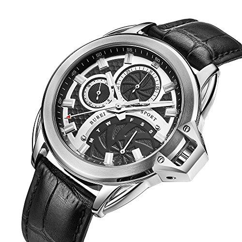 Burei Montre Homme chronographe Montres Affichage analogique résistant aux Rayures Verre Minéral et Bracelet Cuir Noir