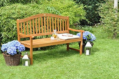 Gartenbank mit Gravur von Ihrem WUNSCHTEXT mit Tisch in der Bank für Gartenliebhaber | Farbe Natur – formschöne personalisierte gravierte Holz-Bank aus Eukalyptus-Holz - 4