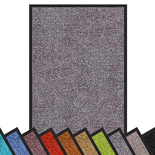 Schmutzfangmatte Rhine | schadstoffgeprüft | waschbare & extra leistungsstarke Fußmatte | Sauberlaufmatte mit Rutschfester Rückseite | Türmatte in vielen Größen & Farben (40x60 cm, Grau)