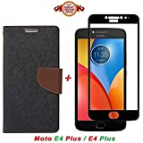 GOELECTRO Luxury Mercury Diary Wallet Style Black Brown Flip Cover Case For Motorola Moto E4 Plus Flip Cover - Moto E4 Plus Flip Cover + 2.5D Curved 3D Edge To Edge Tempered Glass Mobile Screen Protector (Brown-Black)