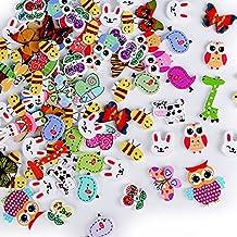 100 x Botones Madera para Manualidades Colores Mezclados Costura DIY Scrapbooking Bricolaje Artesanía en forma de Animales