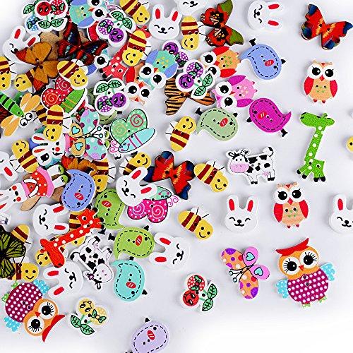 100 x Botones Madera Colores Mezclados para Manualidades DIY Scrapbooking Bricolaje Costura Artesanía (Animales)