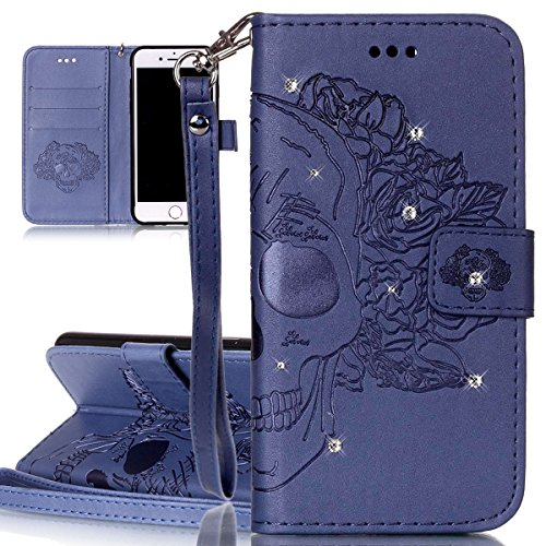 Custodia per Apple iPhone 7, ISAKEN Custodia in Sbalzato Embossed Design PU Pelle Book Folding Case Glitter Bling Cover, Supporto Stand e Porta Carte Integrati Portafoglio Flip Cover con Chiusura Magn cranio:blu